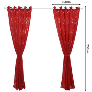 Curtain & Drapes Blackout Window Curtains Panel Wave Pattern Grommet Top Thermal Insulated For Home Bedroom Living Room Decoration