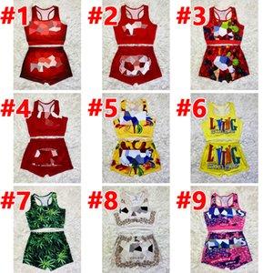 Women's Two Piece Pants Suit 2 piecess Sleeveless vest T-Shirt Top + shorts Casual sport printing Suits plus size S M L XL 2XL