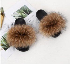 RASS PLE 2021 Real Fur Slippers Slides Shoes Brown Color Furry Fuffly Slipper Flip Flops Sandals Drag Sandal Summer Women Sliders
