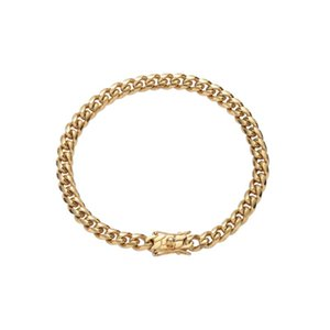 Link, Chain 6mm Bling Stainless Steel Bracelet Cuban Link Hip Hop Bracelets SB003