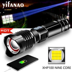 XHP100 9Core Powerful LED Flashlight Torch XHP70 XHP50 Usb rechargeable Tactical Flashlight Zoom lantern use 26650 18650 Battery 210320
