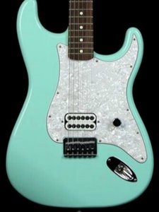 2021 Top quality FDST-1097 light green color solid body white pearl pickguard rosewood fretboard ST electric guitar,