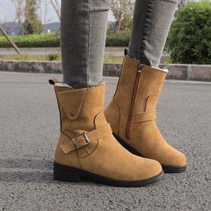 Talla grande 35-43 Faux Suede Boots de tobillo Mujeres Snow Zapatos Hebilla Botas de MotorCyle Flush Warm Botas Mujer Low Tacón 2020 Invierno 9811