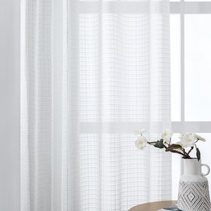 White Tulle Curtains For Living Room Bedroom Window Decoration Modern Solid Plaid Sheer Voile Drapes Kitchen Curtain &