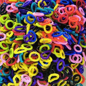Plastic Hair ring telephone line Bracelet keyring bracelets Ponytail Holders Circle Elastic Rubber String Telephone Coil Head Rope G38AYAA