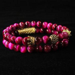 Men bracelets Natural tiger eye pearl beads bracelet set, jewelry for men and women, elastic material beads Wrist Strap 227 Q2