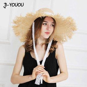herbe jiyouou dentelle dentelle paille tondeuse femme chapeau d'été chapeau de vacances en plein air plage de protection solaire chapeau de protection solaire