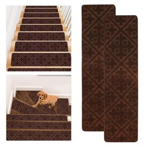 Carpets 2pcs Self-Adhesive Stair Mats Polyester Step Pads Non-skid Washable