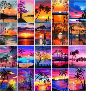 Paintings AZQSD DIY Painting By Numbers Landscape Frameless On Canvas Oil Coconut Tree Sunset Seaside Handpainted Wall Decor