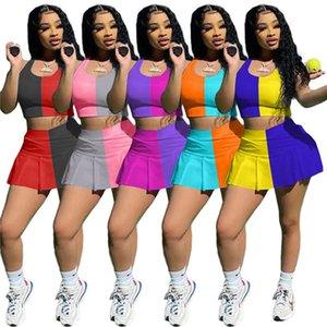 여성 두 조각 드레스 민소매 티셔츠 + 스커트 여름 작물 탑 조깅 정장 S-2XL 복장 스트레치 스포츠웨어 실행 캐주얼 의류 5005