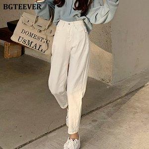 jeans novo casual cintura alta harem calças para mulheres primavera bolsos soltos feminino jeans branco jeans 2021 cuecas streetwear jqy4