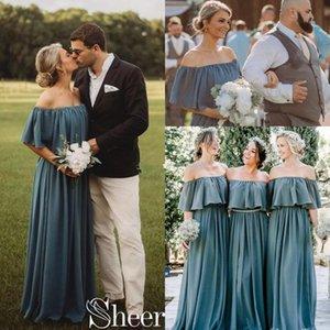 숄더 슬레이트 회색 신부 들러리 드레스 2021 전체 길이 보헤미안 컨트리 비치 주니어 웨딩 파티 가운