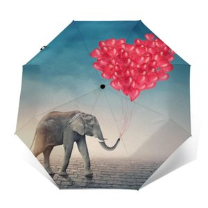 Umbrellas Elephant Flying With Balloons In The Sky Windproof Automatic Folding Inverted Umbrella Portable Paraguas For Man Woman