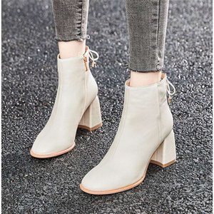 shoes Fall and winter Plush White Martin women's single high heels snow versatile thick heel short boots
