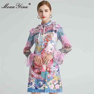 드레스 봄 여성 드레스 플레어 슬리브 러버 아름다운 애니메이션 프린트 드레스 210512