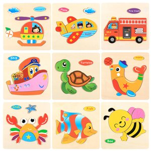 1pcs Intelligence 3D Wooden Puzzle Kids Toy Cartoon Animal Jigsaw Puzzle Early Educational Toys For Children Gifts