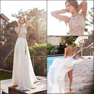 2021 Bohemian Sheath Wedding Dresses A Line Halter Neck Backless High Side Split Appliques Lace Chiffon Beach Bridal Gowns