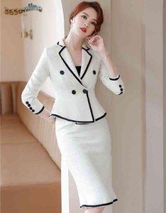 2020 Herbst Winter formale Frauen Business-Anzüge mit Rock und Jacken Mantel Hohe Qualität Stoff ol Stilen Professionelle Blazer