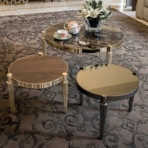 Retro Beautiful Round top Living room Furniture Durable Colors Metal Marble corner table For Home Hotel restaurant