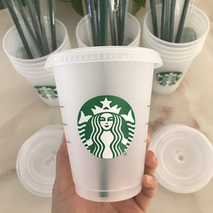Starbucks 16oz / 473ml Tumbler en plastique Réutilisable Clear Clear Coupe Appartement Coupe Couvercle Couvercle Couvercle Tasse de paille Bardian, 50pcs