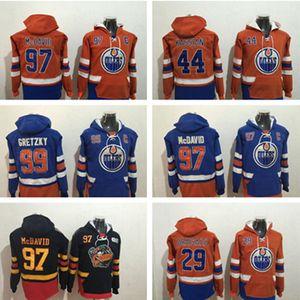 Edmonton oilers Hockey 97 Connor McDavid 29 Leon Draisaitl 44 Zack Kassian 99 Wayne Gretzky Hoodie 스웨터 유니폼