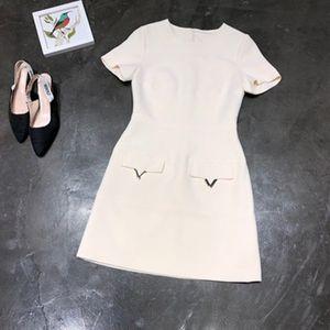 Moda-Milan Runway Mujer vestido de diseñador albaricoque / negro / azul Mangas cortas V Vestidos de Festa