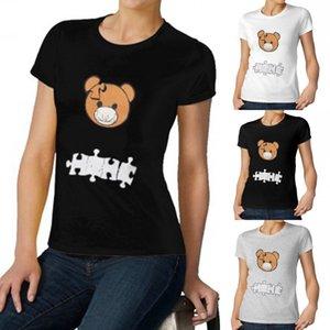 2021 Spring Summer Women's Tops Tees T-Shirt Mens Bear Print T-Shirts Fashion Casual Puzzle short sleeves FY2555