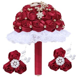 Hochzeitsblumen 2021 Braut Blumenstrauß Kristall DIY Ribbbon Rose Brautjungfer Handgelenk Corsage 3-teile Lieferungen T311