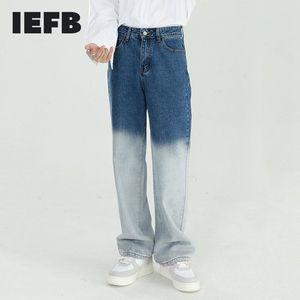 Erkek Giyim Bahar 2021 Kore Düz Kontrast Renk Patchwork Jeans Yüksek Bel Nedensel Vintage Geniş Bacak Pantolon Y6147