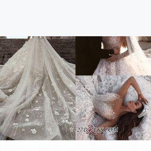 Luxurious Long Sleeve 2019 Designer Wedding Dresses Zipper Back Ball Gown Flowers Crystal Custom Made Bridal Gowns