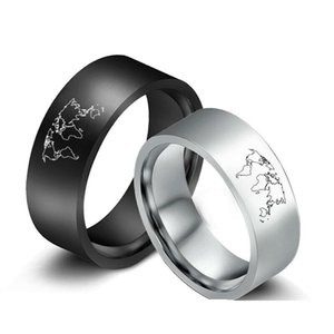 8mm The World Map Rings Stainless Steel Band Gifts Jewelry For Men Size 6-13