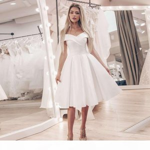 Little White Dress Simple Off the Shoulder A-line Wedding Dresses Cheap Short Wedding Dress Knee-Length Satin Bridal Gowns Robe De Mariage