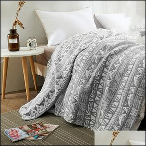 Textiles Home & Garden150X200Cm 200Cmx230Cm Cotton Blanket Er Bedspread Bed Sheet Adult Childrens Throw Blankets For Beds Sofa Office Beddin