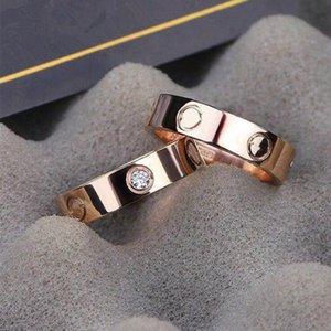 2021 5mm Titan Stahl Silber Zirkon Liebe Ringe Männer und Frauen Rose Gold Ring Schmuck Für Liebhaber Paar Hochzeit Geschenk