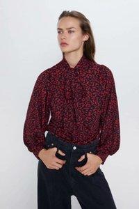Весна Летние лук красный Zaianing-стиль женские блузки рубашки топы ведущие вадимированные женские одежда O9399 женские блузки женские рубашки
