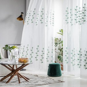 Curtain & Drapes Fresh Twigs Embroidered Yarn Living Room Bedroom Floating Window Screen Transparent Decorative Gauze Matching