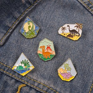 Dinosaur Era Landscape Bottle Lapel Enamel Crow Pins coconut Tree Custom Crows Brooches Shirt Bag Badge Animal Jewelry