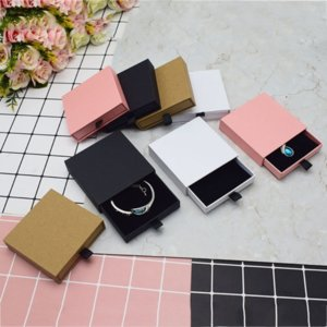 IkJ cowhide carton black pendant packaging boxes boxes necklace bracelet simple pendant jewelry kraft paper jewelry drawer