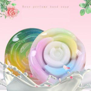 Colorful Rose Essential Oil Soap Round Oil-Control Bath Perfume Rainbow Handmade Moisturizing Soaps 100g