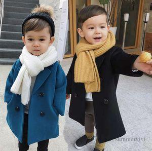 Autumn Boys woolen plaid trench coat kids lapel double pocket lattice outwear children long sleeve casual coats Q2273