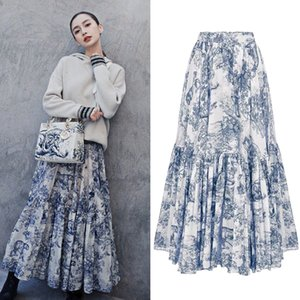 BLLOCUE 2019 Runway Women Luxury Ink Totem Forest Animal Print Cotton High waist Pleated Skirt Elegant Long Skirts LY191203