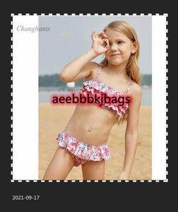Ropa de baño para niños Modelo Modelo Chicas Bikini Set Niños de dos piezas Capa Flor Niños 2 Piezas Traje de baño Chica Baño Traje Niño Playa Wear1
