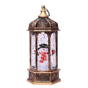 Flashes Christmas European Style Retro Lantern Xmas Tree Snowman LED Portable Night Light Home Decoration Ornaments Hanging Prop