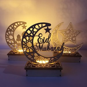 Ramadan Eid Mubarak Decorations for Home Moon LED Candles Light Wooden Plaque Hanging decors Islam Muslim Event Party Supplies 705 V2