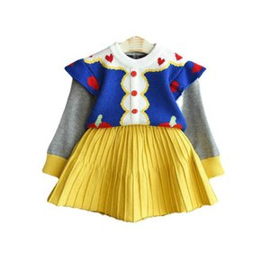 Girls Sweater Sets Kids Clothing Baby Clothes Outfits Autumn Winter Cotton Knitting Patterns Cardigan Coat Pleated Skirts Children Suits 2Pcs B8363