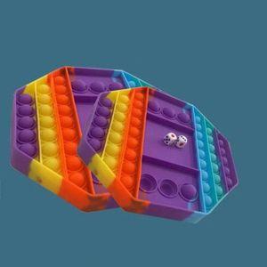 20 * 20cm 큰 게임 레인보우 체스 보드 감압 장난감 푸시 버블 Fidget Sensory 장난감 스트레스 릴리프 양방향 파티 게임 감각 장난감