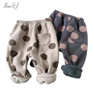 Trousers Winter Boys Fleece Solid Corduroy Pant 1-6Y Child Plus Velvet Thick Elastic Waist Straight Fall Warm Clothes Kids Pants