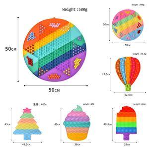 50CM Large Big Sensory Push Bubble Pops Toys Macaron Rainbow Jumping Chess Poo-its Board Christmas Tree Ice Cream Hot Air Balloon Shape Finger Puzzle G8483FM