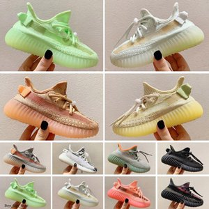 Top V2 Kids Running Shoes 2021 Designer Boys Girls Glow Reflective Flax Synth Oreo Citrin Cloud White Toddler Outdoor Sneakers Size 24-35