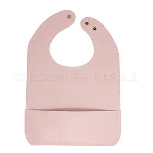 Baby Bib waterproof leather saliva towel solid color baby bib with pocket